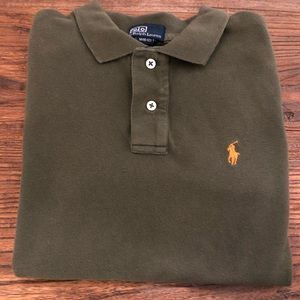 Boys short sleeve polo shirt. Army green, 10-12
